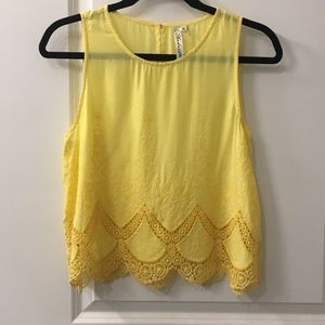 EUC Franscesca Yellow Crop Top Embroidered